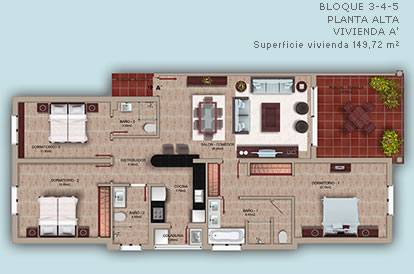 Three bedrooms Cocotal apartment plans