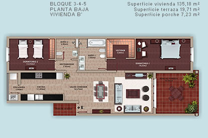 Two bedrooms condo Cocotal plans