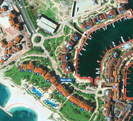 Aquamarina Marina Cap Cana master plan and building numeration