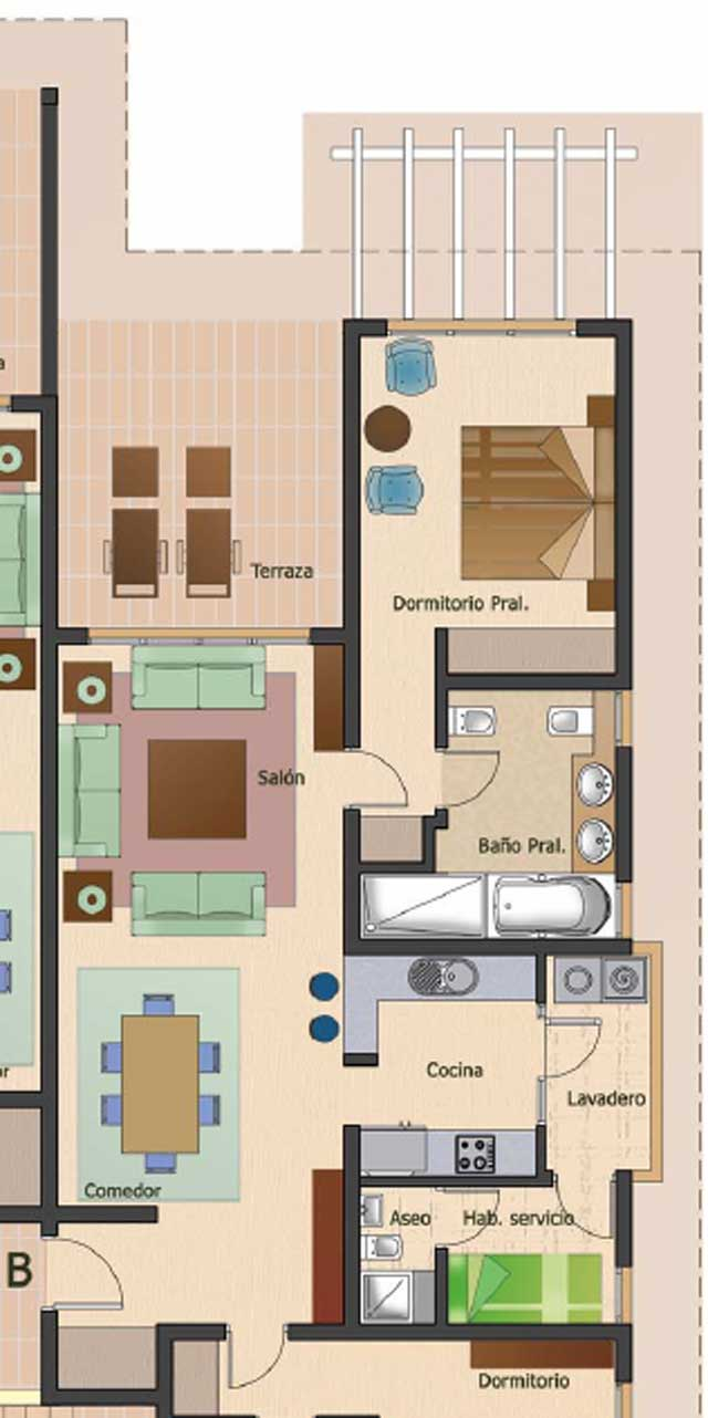 Floor plan quintas de Hoyo 8 apartment 23 furnished
