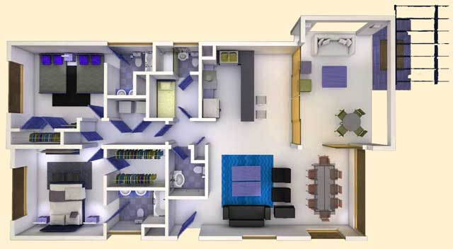 2 bedrooms plan Hacienda del Mar